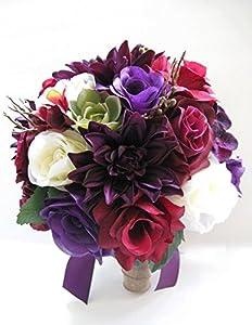 Wedding Flowers Artificial Silk Bouquet 17 Piece Package PURPLE PLUM BURGUNDY Succulent Cream Bouquets Centerpiece RosesandDreams