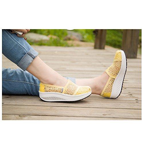 Zapatillas De Lona Para Mujer Slip On Hollow Lace Breathable Base Gruesa Waking Zapatos De Btrada Yellow