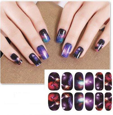 feuille complète de stickers au couleurs de l'espace pour la décoration des ongles - QJ01 Nail Sticker Tattoo - FashionLife