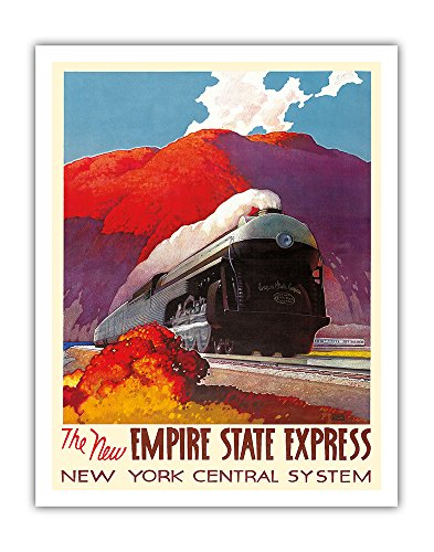 The New Empire State Express - Hudson River Valley - Locomotive - New York Central System - Vintage Railroad Travel Poster by Leslie Darrell Ragan c.1941 - Fine Art Print - 11in x 14in Collectible New York Central Railroad