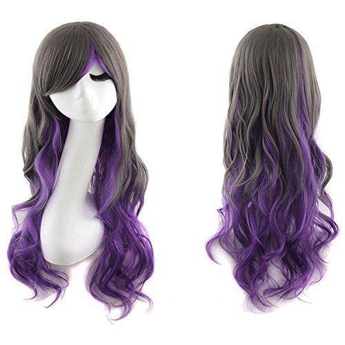 Angelaicos Womens Fashion Three Tone Gradient Color Lolita Girls Cute Wavy Curly Party Cosplay Wig Long (Black (Star Long Wavy Wig)