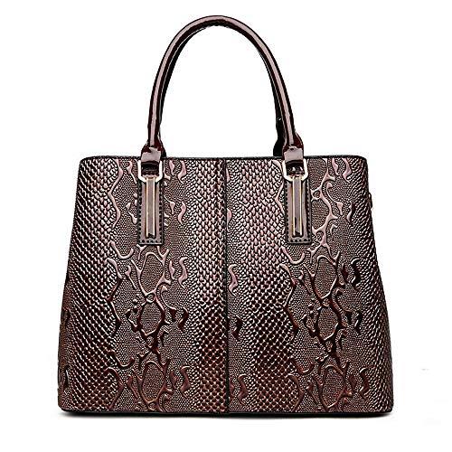 La Sacs Pattern Féminine À Dames De Ladies Sac Snake Wwave Leather Patent Bandoulière Main Brown Pu Mode Pour tq6xz