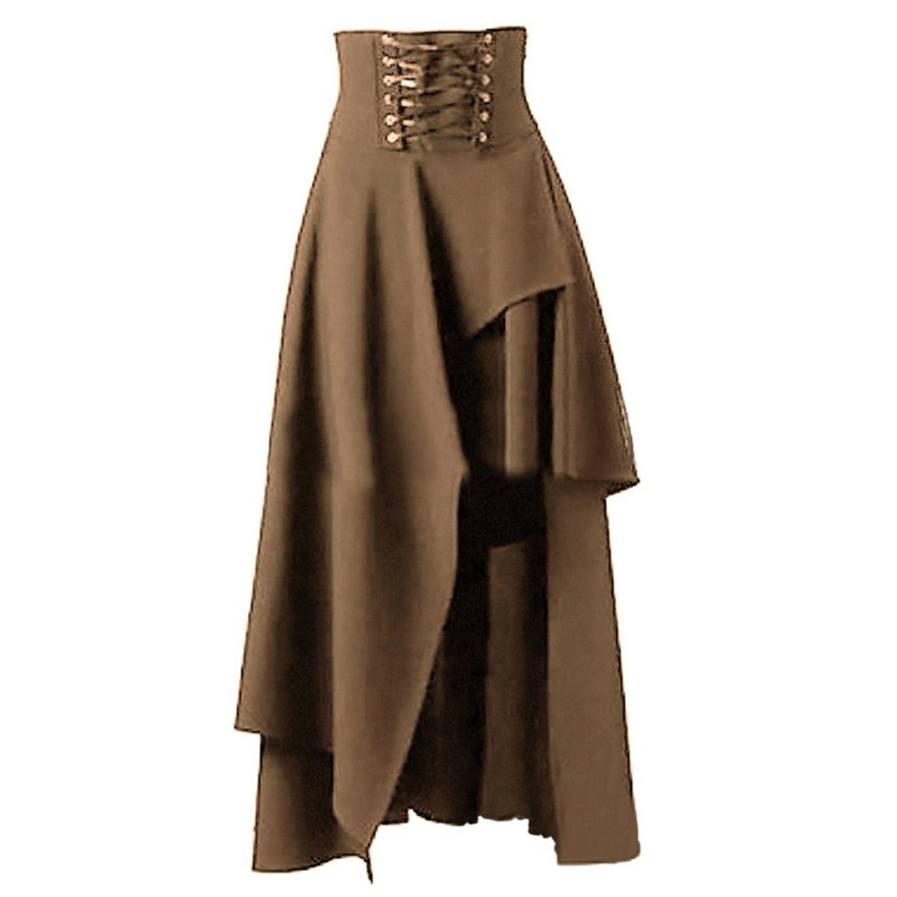 Strap Black Skirts Female High Waist Irregular Gothic Skirts Khaki L