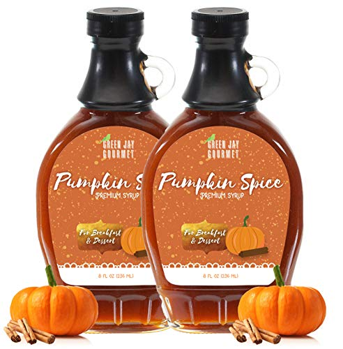 Green Jay Gourmet Pumpkin Spice Syrup - Premium Breakfast Syrup with Pumpkin, Spices & Lemon Juice - All-Natural, Non-GMO Pancake Syrup, Waffle Syrup & Dessert Syrup - 16 Ounces