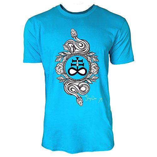 SINUS ART® Zwei Schlangen mit satanischem Kreuz Herren T-Shirts in Karibik blau Cooles Fun Shirt mit tollen Aufdruck