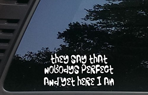 They say that nobodys Perfect and Yet HERE I AM - 8 inches by 3 3/4 inches die cut vinyl decal for vehicles, windows, boats, tool boxes, laptops - virtually any hard smooth surface