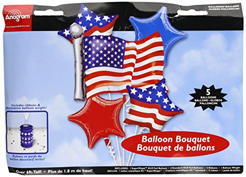 - Anagram International 51879 Bouquet Patriotic Party Balloon, Red/White/Blue