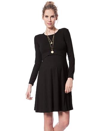 0e06a218d46eb Seraphine Women s Black Bamboo Maternity   Nursing Skater Dress at ...