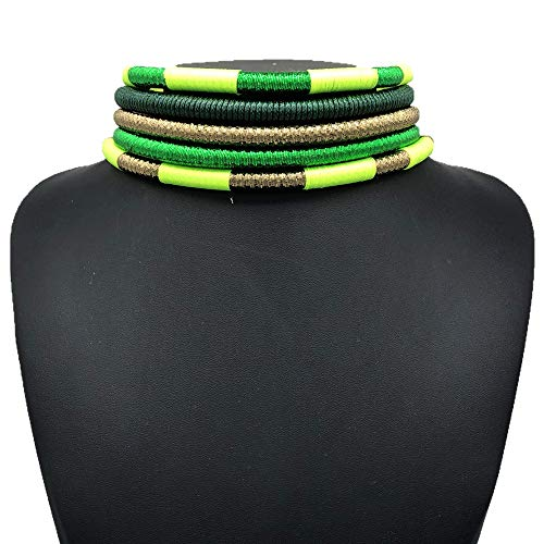 African Necklace - Ankara Jewelry - Sunkissed Marula Kente Choker & Bib African Necklace Jewelry Set (Multi ()