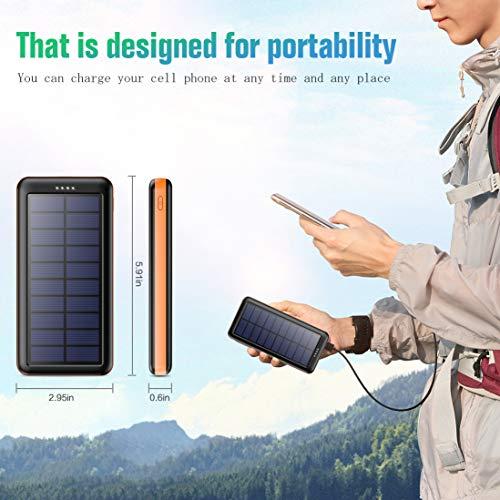 Pxwaxpy Solar Powerbank Outdoor 26800mah【3 Eingänge & 2 Ausgaben(Micro/USB C)】 Solar Ladegerät Hohe Kapazität Externer Akku Tragbares Ladegerät Akkupack, Power Bank für Smartphones, Tablets und mehr