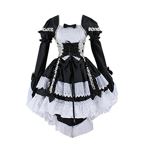 Très Chic Mailanda Damen Gothic Damen Karneval Fasching Cosplay Kostüm Abendkleid (M, Schwarz)