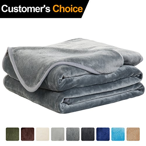 Luxury Fleece Super Soft Thermal Blanket Warm Fuzzy Microplush Lightweight Blankets for Bed Sofa,Queen,90 by 90 Inches,Grey
