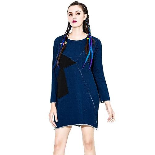 YAANCUN Donna Design Cucito Vestiti Eleganti Vintage Moda Manica Lunga Abito