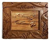 Koa Wood Handcrafted 5''x7'' Picture Frame, HAWAII Ocean Life w/Dolphin, Fish, & Turtle Design