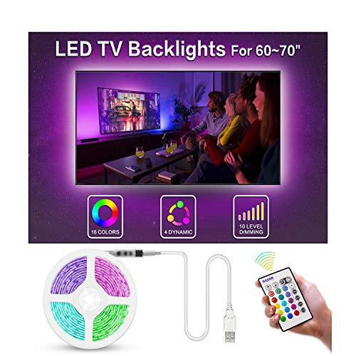 Bason TV LED Backlight, 13.09ft USB Led Lights Strip for TV/Monitor Backlight, Led Strip Light with Remote, TV Bias Lighting for Room Home Movie Decor.(60-70inch) (Led Light Home Theater)