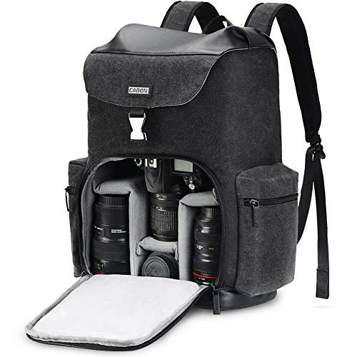 CADEN Professional Waterproof DSLR Camera Backpack Bag Canvas with Laptop Compartment 14″ and Tripod Holder, Camera Case Backpack Large for Mirrorless Cameras Canon Nikon Sony Pentax Lens etc