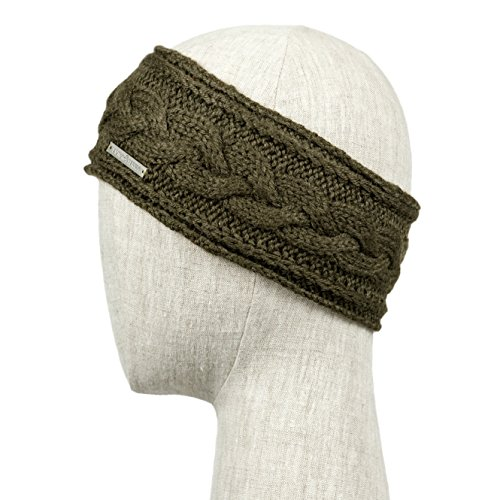 TRAPANI Handmade Knitted 100% Baby Alpaca Headband Ear Warmer for Women (Olive)