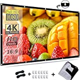 Hzgang 120inch Projector Screen Indoor Outdoor Portable Movie Screens 16:9 HD Projection 4K Home Theater Gaming Office Presentation Education Outdoor Indoor Public Display Screen