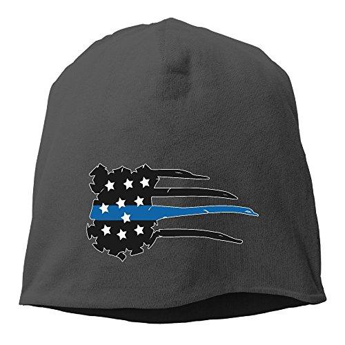 Police Badge Thin Blue Line ,Women/Men Wool Hat Soft Stretch Beanies Skull Cap Black