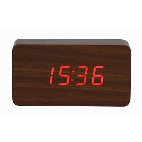 Vosarea Temperatura Sons Control LED electrónica Escritorio Reloj Despertador Digital Madera Estudiantes electrónico Reloj Despertador (