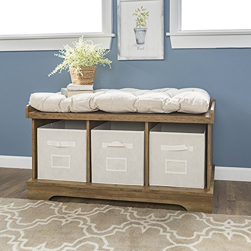 WE Furniture  Modern Farmhouse Entryway Storage Bench Totes, 42 Inch, Brown Reclaimed Barnwood