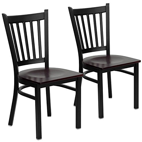 Flash Furniture 2 Pk. HERCULES Series Black Vertical Back Metal Restaurant Chair - Mahogany Wood Seat ()
