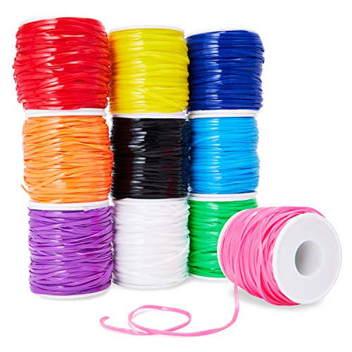 Juvale 10-Pack Plastic Lacing String Cord for DIY Craft Jewelry, 10 Colors, 2.5 x 1mm, 50 Yards Length