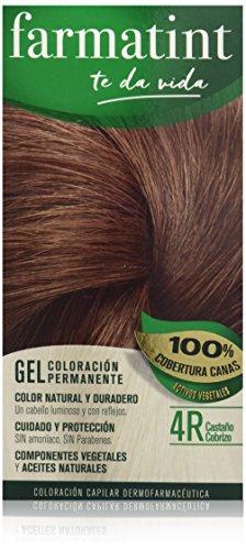 🥇 Farmatint Gel 4R Castaño Cobrizo | Color natural y duradero | Componentes vegetales y aceites naturales | Sin amoníaco | Sin Parabenos | Dermatológicamente testado