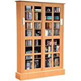 Atlantic Windowpane Media Cabinet With Sliding Glass Doors In Maple