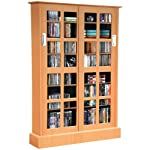 Atlantic Windowpane Media Cabinet With Sliding Glass Doors In Maple