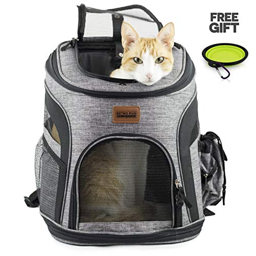 - RETRO PUG Cat Carrier Backpack - Front Pack - Airline Approved - Strap Adjustable - Pet Carriers for Small Dogs and Cats - Travel, Hiking, Outdoor with Dog - Include Fleece Pad - Up to 10 lbs