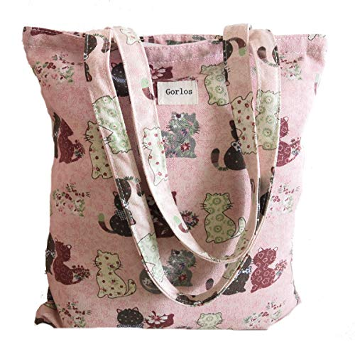 Color Multi Pink Handbag (Canvas Tote Carrying Bag for Book Lovers, Readers, and Bibliophiles, Travel bag, shopping bag, Reusable Grocery Bags, Women's Shoulder Handbags (Bag-multicolor-pink cat))