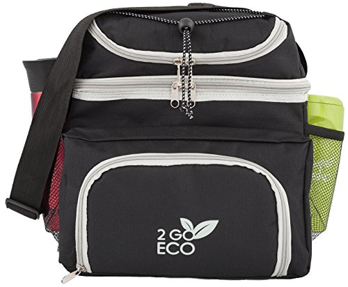 2GOECO Soft Sided Lunch Cooler | Insulated Bento Meal Prep Container Organizer Bag | Adult Men Women Extra Large Double Decker Lunchbox for Work | Black