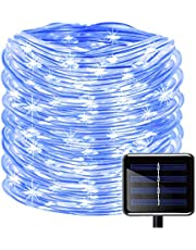 100 LEDs Solar Rope String Lights,KINGCOO Waterproof 39ft/12M Copper Wire Outdoor Tube Fairy String Lights for Christmas Garden Yard Path Fence Tree Backyard (Multi)