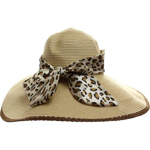 LL Women's Straw Floppy Satin Brown Leopard Print Sash Sun Hat- Beige