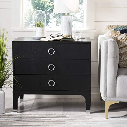 (Safavieh FOX6232A Home Collection Lorna 3 Drawer Contemporary Night Stand Nightstand Black)