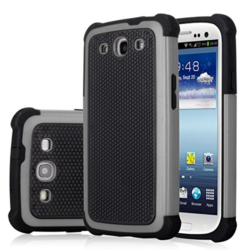 Galaxy S3 Case, Jeylly(TM) [Shock Proof] Scratch Absorbing Hybrid Rubber Plastic Impact Defender Rugged Slim Hard Case Cover Shell for Samsung Galaxy S3 S III I9300 GS3 All Carriers