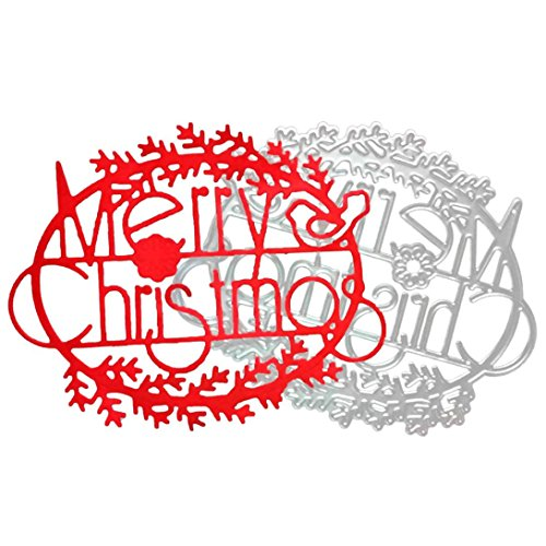 Topunder Merry Christmas Metal Cutting Dies Stencils Scrapbooking Embossing DIY Crafts]()