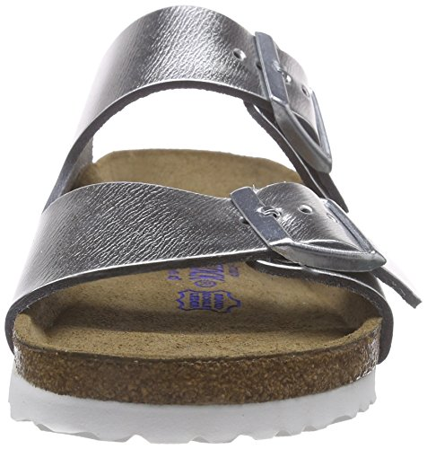 Birkenstock Arizona Narrow Fit - Liquid Silver Leather 1000062 Womens Sandals 37 EU by Birkenstock (Image #4)