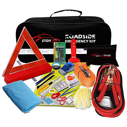 (STDY Auto Emergency Kit, Car Roadside Assistance Emergency Kit 57-in-1 Car Safety Kit+Tow Rope,Jumper Cables, Tire Pressure Gauge,Triangle etc,Great for Car,Truck Or SUV Multifunctional Assistance)