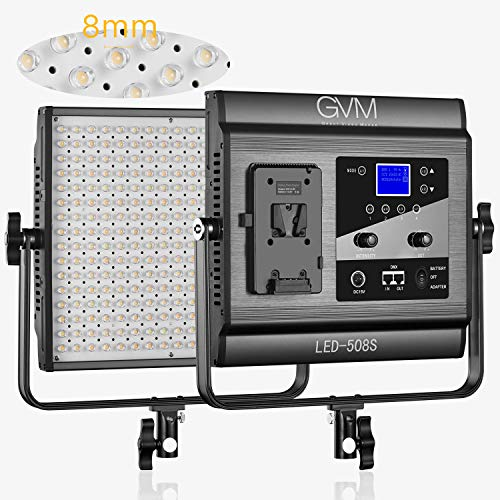 GVM LED 508 Video Light, Dimmable Bi-Color, Photography Lighting with APP Intelligent Control System, Professional for YouTube, Studio, Outdoor, Video Lighting with LCD Screen, 2300K-6800K, CRI 97