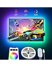 """TV Backlights with APP, Govee 6.56FT RGB Neon Strip Lights 5050 TV Lights Kits, Multi DIY Color Accent Lights with 3M Tape and 5 Clips, Adjustable Brightness and USB Powered (40""""-60"""")"""
