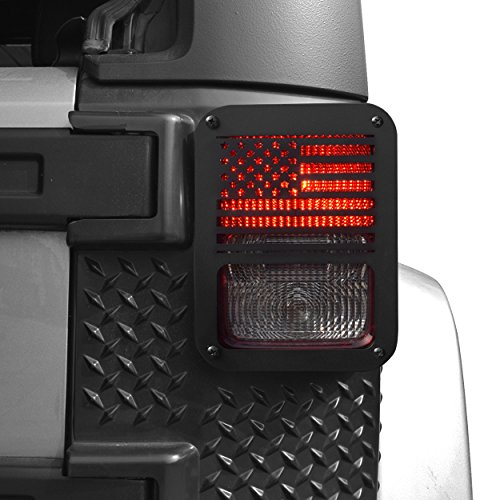 Allinoneparts USA Flag Tail lamp Tail light Cover Trim Guards Protector For Rear Taillights 2007-2017 Jeep Wrangler JK Unlimited - Rear Guard Brake