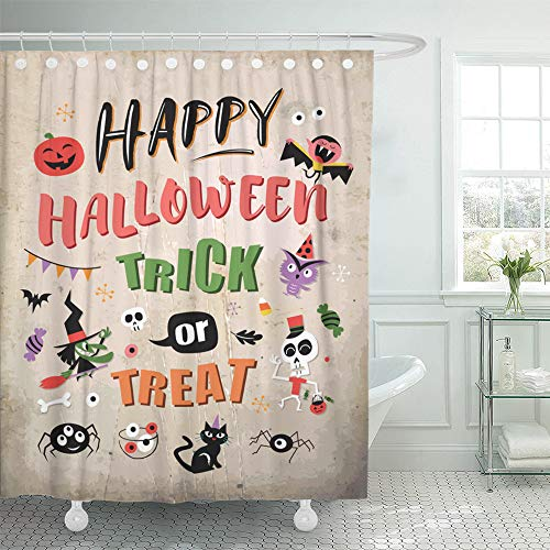 Emvency Shower Curtain Set Waterproof Adjustable Polyester Fabric Bat Happy Halloween Trick Treat Broomstick Candy 60 x 72 Inches Set with Hooks for Bathroom