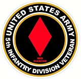 1 Pcs Marvelous Fashionable US Army Veteran 5th Infantry Division Red Diamond Stickers Signs Locker Wall Car Decals Size 4.5