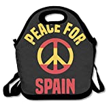 Faverlkujj Peace For Spain Pray For Spain Lunch Tote Insulated Reusable Picnic Lunch Bags Boxes For Men Women Adults Kids Toddler Nurses