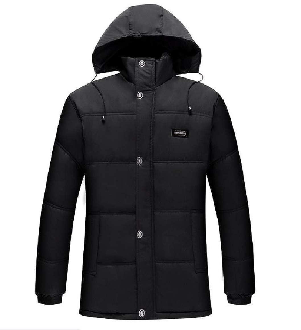 RDHOPE-Men Quilted Hooded Plus Size Fleece Outwear Coat Simple Anorak Jacket