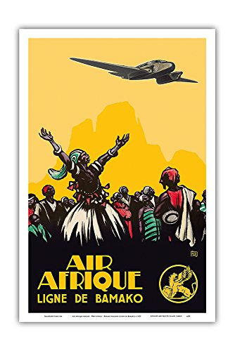 Pacifica Island Art Air Afrique Airline - West Africa - Bamako Airlines (Ligne de Bamako) - Vintage Airline Travel Poster c.1925 - Master Art Print - 12in x 18in