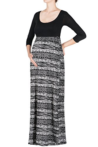 Beachcoco Women's Maternity 3/4 Sleeve Printed Maxi Dress Made in USA