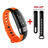 SENBONO Fitness Tracker,Bluetooth Smart Wristband Sleep Blood Pressure Heart Rate Monitor Calorie Step Distance Tracker Band Sports Bracelet (Orange Silica)
